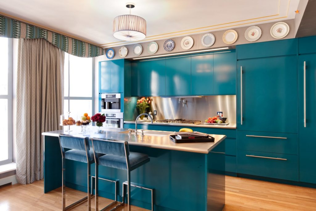 blue-kitchen-set-cabinets-ceiling-plat-curtains-simple-windows-frame-white-wooden-table-top-marmer-stainless-blue-chair-parquet